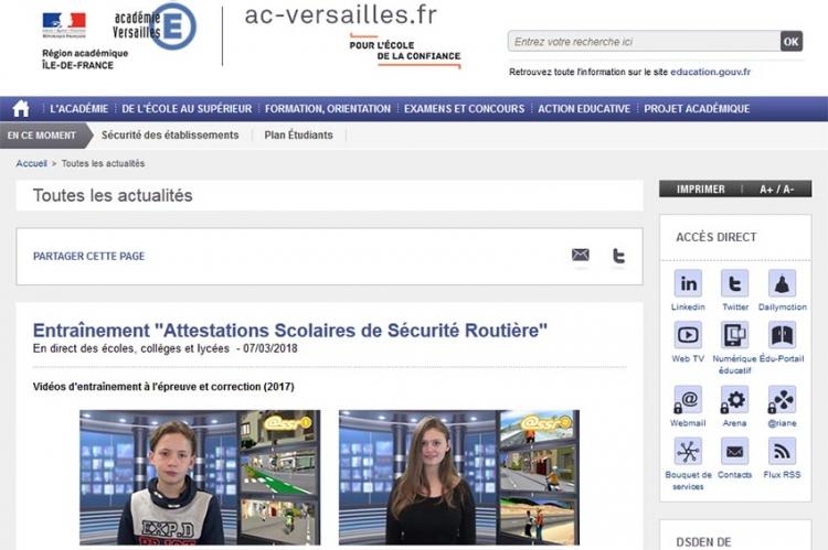 Nos vidéos de l'ASSR sur le site de l'Académie de Versailles